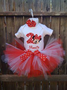 Custom Boutique Monogrammed Red Minnie Mouse Birthday Tutu Set. $45.00, via Etsy.