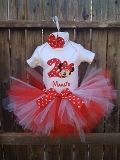 Custom Boutique Monogrammed Red Minnie Mouse Birthday Tutu Set. $45.00, via Etsy.