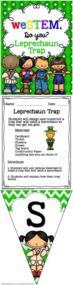 Are you looking for a way to integrate STEM activities into your current curriculum? If so, this product might be just what you are looking for.   This is a SAMPLE of a bigger bundle that we have created. Have your students design and construct a trap that will catch a leprechaun so they can get his gold! Your students are sure to have fun completing this engineering activity!