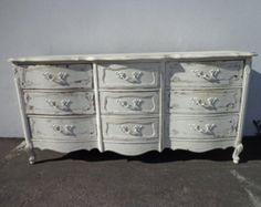 Painted China Cabinets, French Provincial Dresser, Changing Table Dresser, Shabby Chic Style, Wood Construction, Chest Of Drawers, Custom Paint, Solid Wood, Buffets