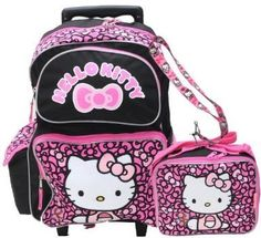 40b253f10c New Hello Kitty School Rolling Backpack Lunch Bag and Lanyard Set Adjust  Strap