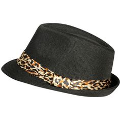 Leopard Trim Band Fedora ($6.99) ❤ liked on Polyvore featuring accessories, hats, paper hats, leopard print fedora hat, leopard fedora hat, band hats and wet seal