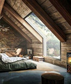 Amazing forest bedroom with floor to ceiling window/skylight