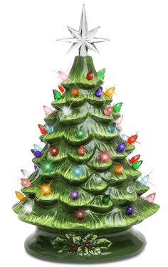 Best Choice Products Pre-lit Hand-Painted Ceramic Tabletop Christmas Tree Holiday Decoration w/ 64 Multicolored Lights - Green Colorful Christmas Decorations, Tabletop Christmas Tree, Ceramic Christmas Trees, Christmas Mood, Diy Halloween Decorations, Vintage Christmas, Holiday Decor, Vintage Decorations, Christmas Lights