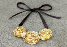 Rosette Necklace Yellow & Brown #fallnecklace  TheVintageHoneyShop, $20.00