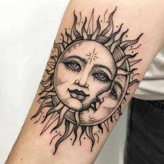 Moon Sun Tattoo, Sun Tattoos, Dope Tattoos, Pretty Tattoos, Body Art Tattoos, Small Tattoos, Tattos, Styles Of Tattoos, Awesome Tattoos