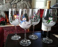 Custom Hand Painted Glassware and Gifts by Brenda Dee Cook Winter Wonderland Christmas, Christmas Holidays, Christmas Stuff, Christmas Decorations, One Stroke Painting, Painted Wine Glasses, Glass Candle Holders, Christmas Projects, Hand Painted