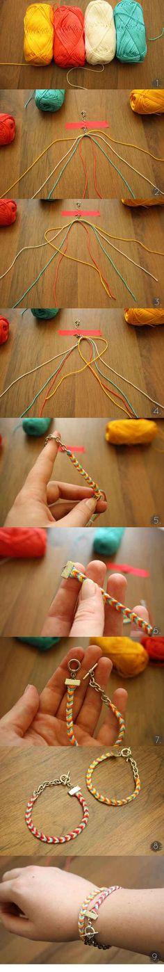 brazalete con hilos de algodon diy ingenioso