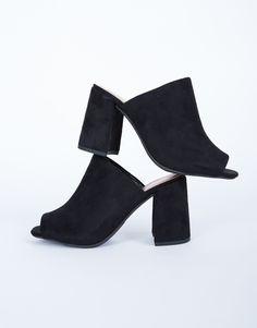Chunky Suede Mule Heels - Black Suede Sandals - Suede Heel Mules – 2020AVE