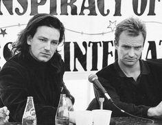 Bono and Sting be still my beating heart. U2 Music, Music Pics, Rock Roll, Newcastle, U2 Band, Andy Summers, Jazz, Paul Hewson, Bono U2