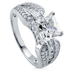 Best Seller Sterling Silver Princess CZ Solitaire Rhodium Plated Ring 3.02ct Size 6. By Evalani Reitenbaugh Crafty Diva