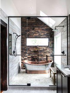 Modern Farmhouse Bathroom Makeover Decor Ideas - Page 59 of 85 Rustic Bathroom Designs, Modern Farmhouse Bathroom, Bathroom Interior Design, Decor Interior Design, Rustic Farmhouse, Modern Interior, Classic Interior, Master Bathroom Designs, Bathtub Designs