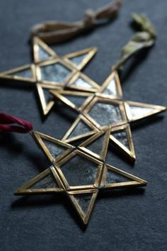 Mirror star tree decorations: set of three - from Decorator's Notebook Shop (they ship to UK, Europe and USA)