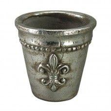 Ghiveci ceramic cu finisaj metalic H16
