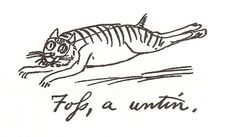 """Edward Lear's sketch of his beloved cat Foss: """"Foss a 'untin[g]"""". Lear wrote """"The Owl and the Pussycat."""""""