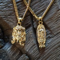 """137 Likes, 6 Comments - SIXTH & HILL Jewelry Co. (@sixthandhill.jewelryco) on Instagram: """"Our Signature Jesus Piece & Virgen de Guadalupe pendants, on Cuban Link Chains.  Available now at…"""""""