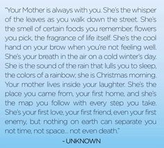 Sent to me by my very good friend Debbie on the anniversary of my Mother's passing.