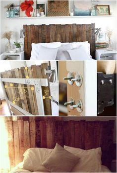 self-made rustic wooden headboard