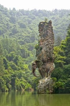 Elephant Rock sculpture, India.beautiful photo
