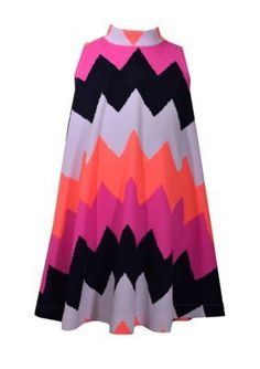 Bonnie Jean Girls' Chevron Print Dress Girls 7-16 - Coral - 14