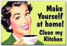 """CLEAN MY KITCHEN"" VINTAGE HUMOR FRIDGE MAGNET"