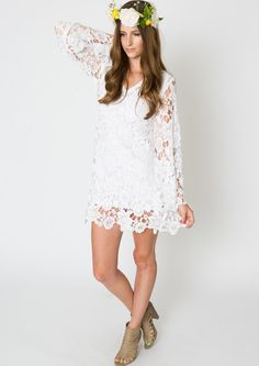 Lacy Clothing For Women Boho bell sleeve mini dress lace