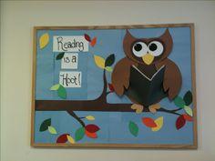 My library bulletin board :) lovin' my owl!