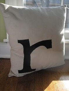 Single initial monogram pillow
