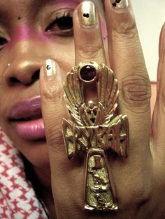 Ms. Badu and her world famous ankh ring handcrafted by Studio of Ptah