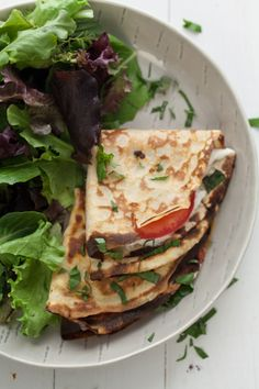 Savory oat crepes that are stuffed with tomatoes, basil, and soft goat cheese. Gluten Free and Vegetarian- a perfect light summer dinner. Oats Recipes, Gf Recipes, Vegetarian Recipes, Cooking Recipes, Healthy Recipes, Light Summer Dinners, Savory Crepes, Clean Eating, Healthy Eating