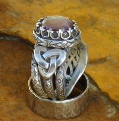 Taliesin Pink Star Ruby Ring of inspiration sterling silver with harp moon and star and Triquetra   Flickr - Photo Sharing!