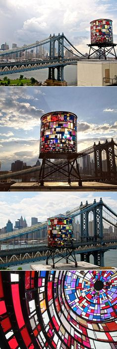 New York, Brooklyn, Tom Fruin's WATERTOWER Situated on the rooftop of 20 Jay Street. The prime viewing locations are the Brooklyn Bridge Park at Washington Street, and the Manhattan Bridge bike path. http://www.tomfruin.com/watertower.html