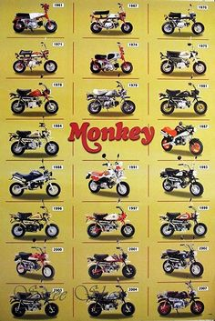 "J-1786 Honda Monkey Classic Motorcycle Poster#13 Size 24""x35""inch. Rare New - Image Print Phot"