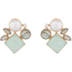 Atelier Mon Pearl And Amazonite Cluster Earrings ($120) ❤ liked on Polyvore featuring jewelry, earrings, multi, pearl jewelry, pearl earrings jewellery, handcrafted jewellery, handcrafted earrings and 18 karat gold jewelry