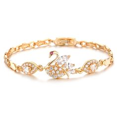 The swan can symbolize purity, love, and unity. You can find meaning in the beauty of this 18K Gold plated and Zirconia bracelet. Perfectly crafted with an elegant style and eye catching sparkle, take