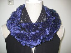 Ruffle Scarf  Knitted Purple Paillette Acrylic by MinnieCreation, €20.74