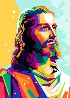 Jesus Christ by Riweldo Sayuna Jesus Christ Painting, Jesus Artwork, Jesus Christ Drawing, Pop Art Portraits, Portrait Art, Pop Art Posters, Poster Prints, Cool Jesus, Jesus Drawings