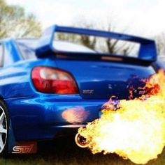 Subaru + fire = awesome. Unless the Subaru is on fire. Then it's not as awesome...