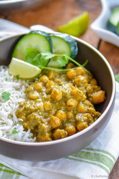 Tangy Creamy Chickpea Curry with Coconut Milk for a winter comfort yet healthy dinner | chefdehome.com
