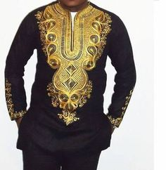 Men's Dashiki Shirt / Angelina Shirt/ African Print by AdinkraExpo African Attire, African Wear, African Dress, African Style, Dashiki Shirt, Dashiki Dress, Dashiki For Men, African Dashiki, African Tops