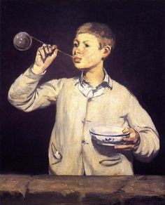 Édouard Manet (1832-1883)  Boy Blowing Bubbles  France, 1867 |Pinned from PinTo for iPad|