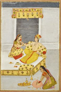 A prince on a bed with a female companion. Gouache with gold on paper, India, Mughal, century Mughal Miniature Paintings, Mughal Paintings, Islamic Paintings, King Of India, Indian Traditional Paintings, India Art, Book Of Hours, Islamic Art, Vintage Paintings