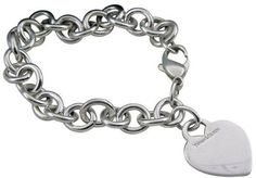 Tiffany & Co. 925 Sterling Silver Heart Tag Charm Links Bracelet