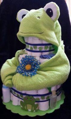 BABY SHOWER~3-Tier-Frog-Diaper-Cake: