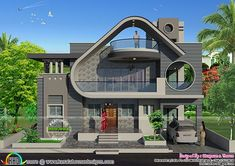 2100 square feet, 4 bedroom unique modern house architecture by Bhagwan S. Best Modern House Design, Classic House Design, Bungalow House Design, House Front Design, Modern House Facades, Modern Architecture House, Unique House Plans, House Construction Plan, House Design Pictures