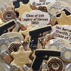 """""""Sheriffs Dept graduation cookies #decoratedcookies #decoratedsugarcookies #policecookies #socutecookies #customcookies"""""""
