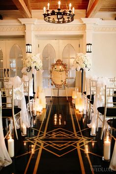 Great Gatsby inspired ceremony space, featured on Roaring 20s Wedding, Great Gatsby Wedding, 1920s Wedding, Dream Wedding, Gatsby Wedding Decorations, Gatsby Theme, Wedding Ceremony Ideas, Wedding Photos, Art Deco Wedding Inspiration