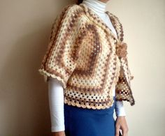 Crochet Bolero Blended Brown Beige Sweater with by bysweetmom