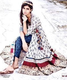 Shalini James' Mantra: Indian by Choice Collection - Intensive kantha embroidery, Sanskrit prints, Zari and Kalamkari with Indigo Bagru block prints - http://www.mantraonline.net/