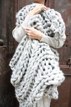 I dream of being wrapped up in this. So special.   DIY Knit Kit  Big Loop Merino Chunky Knit Blanket or by loopymango, $242.00 light heather grey